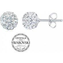 Silvego strieborné náušnice guličky so Swarovski Crystals číre  SILVEGOB36071w 51e06f65ff3
