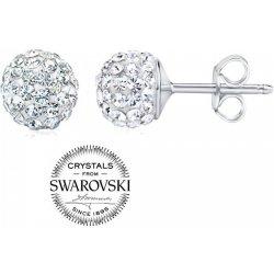 Silvego strieborné náušnice guličky so Swarovski Crystals číre  SILVEGOB36071w 44b15cacb41