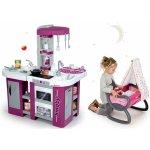 Smoby Set kuchynka Tefal Studio XL so zvukom, kolíska s baldachýnom a bábika Baby Nurse Zlatá edícia