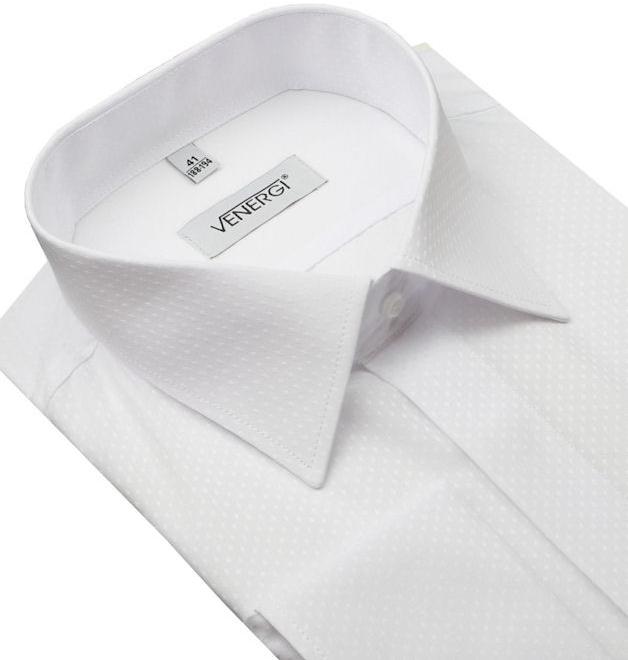 e0cad1fa2d1f Pánska košeľa Biela košeľa na manžetové gombíky VENERGi (klasický s ...