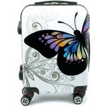 LUMI wk03 motýl cestovný kufor malý 36,5x20x51 cm Bílá