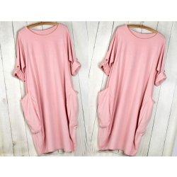 0a801141a1d4 Pohodlné teplákové letné šaty s vreckami tunika rúrka OVERSIZE MD53   717  Ružový