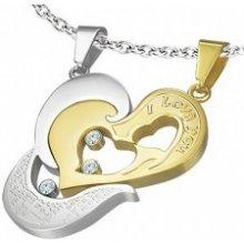 Oceľový prívesok dvojdielny - zlaté srdce I love you, krížik R7.4