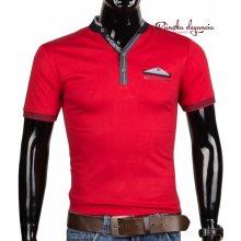 10970-6 Červené pánske tričko s krátkym rukávom
