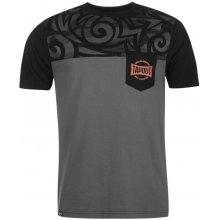 Tapout Tonal Print T Shirt Mens Black/Charcoal
