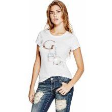 GUESS tričko Irisa Staggered Logo tee biele 7e81b095deb