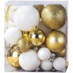 Vianočné gule 31 ks biela a zlatá, 4Home