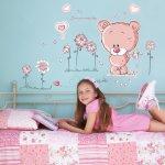 Walplus Samolepka na stenu Ružový medvedík, 120x80 cm