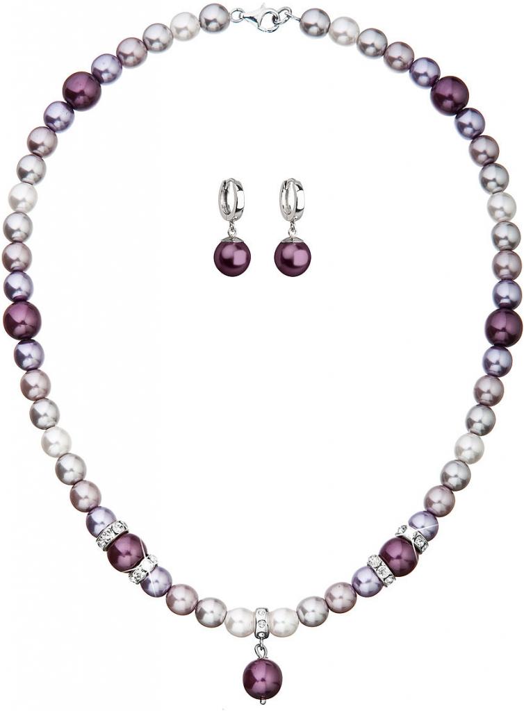 Evolution Group sada šperkov s kryštálmi Swarovski a perlami náušnice a  prívesok fialové okrúhle 39153.3 alternatívy - Heureka.sk f2e03fce1e2