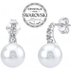 Silvego strieborné náušnice s bielou perlou Swarovski na puzety YO10380PW 28f91fc1df4