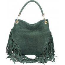 Made In Italy Talianska kožená kabelka v úprave semiš 5080 vojenská zelená 596a40fb88e