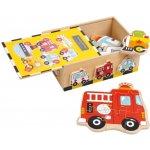 Small Foot drevený puzzle box vozidlá