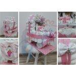 Darčeky-Bambi Plienková torta kočík s papučkami ružová