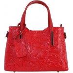 98718e30fe Talianske stredné casual kožené kabelky cez plece červené Carina kvetmi