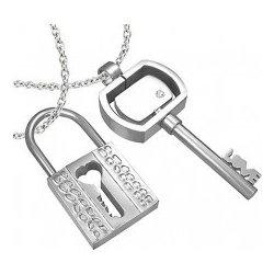 Prívesok kladka a kľúčik z ocele pre zamilovanú dvojicu R1.8 ... 3197976262b