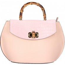 a74ff90fdbed6 kožená kabelka s bambusovými rúčkami 5336 ružová