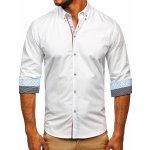 dc4e9bc3eb61 Biela pánska elegantá košeľa s dlhými rukávmi BOLF 8839