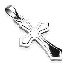 Prívesok z nehrdzavejúcej ocele - obrys kríža a kríž M28.25