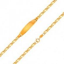 2fd26ca20 Šperky eshop náramok s platničkou zo žltého zlata retiazka zo zdvojených  očiek GG204.23