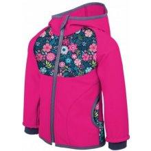 Unuo Dievčenská softshellová bunda s fleecom Kvety ružové 02f41ddbe2e