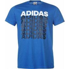 83b4e552e20c Adidas Repeated Linear T Shirt Mens Blue Navy Wht
