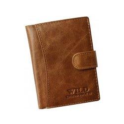 7d3d51e9a Wild pánska kožená peňaženka slabo hnedá na výšku so zapínaním ...
