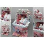 Darčeky-Bambi Plienková torta kočík s bábikou ružová