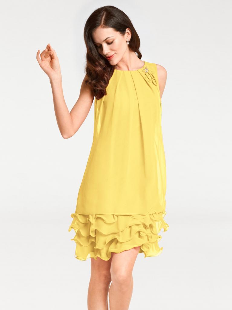 Ashley Brooke by heine koktailové šaty s volánmi žltá - Zoznamtovaru.sk 1b061ed0b1f