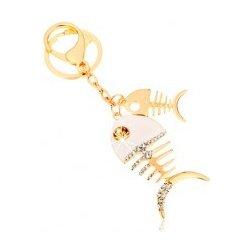 Prívesok na kľúče v zlatom odtieni dve lesklé rybie kosti biela glazúra  zirkóny SP65.18 1f038938d55