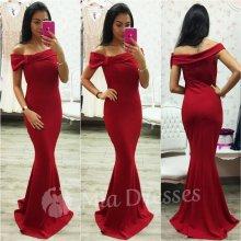Spoločenské šaty so spustenými ramenami červená f0661553439
