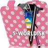 Kožený obal Samsung Galaxy Ace 2 - Polka Flip ružová