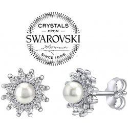Silvego strieborné náušnice s bielou perlou Swarovski na puzety YO3566SW 54f7dccf29b