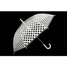 Youzont ART 018 Transparentný dáždnik, bodkovaný, poloautomatický, biela