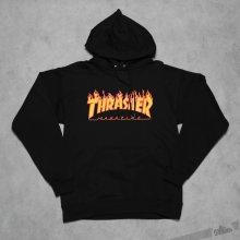 Thrasher Flame Logo Hood mikina Black