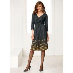 b3c83ed428 Blancheporte Úpletové šaty s potlačou na spodnom diele sivá horčicová