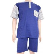Pyžamo LUĎEK krátky rukáv - středně modrá proužky 3XL