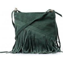 kožená kabelka s třásněmi Bibi zelená 47326c5d396