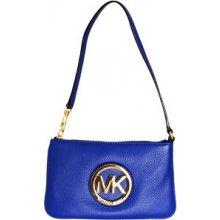 Michael Kors kožená kabelka Leather Wristlet / modrá zlatá