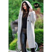 f60d0c0eea9a Fashionweek Dámsky exclusive elegantný farebný sveter kabát s kapucňou JK5    HONEY Šedá