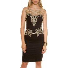 Dámske púzdrové šaty KouCla bez rukávov so zlatou čipkou čierna b01502198ca