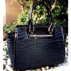 99a4a7dc97 kabelka lakovaná modrá tmavá čierna zlaté kovanie alternatívy ...