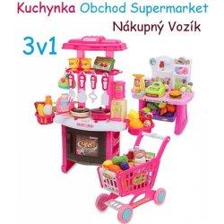 5295c2df57d8 JOKO Veľká Súprava 3v1 kuchynka Obchod Nákupný košík ružová od 40