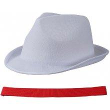 Letný klobúk bielej farby s červeným lemom