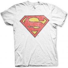 Hybris Production AB Pánske tričko Superman Washed Shield Biela a22df512d4e