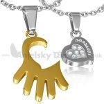 Oceľové prívesky pre dvoch-zlatá ruka a srdce POK236