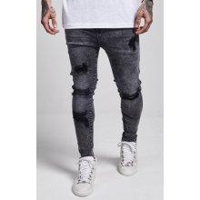 Jeans Siksilk Low Rise Skinny Denim Black Acid Wash