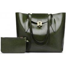 kabelka Zelda cez rameno pololesklá s peňaženkou zelená 40e2ebbebbf