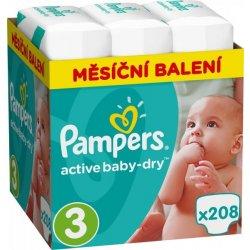 Pampers Plienky Active Baby 3 Midi 5-9kg 208 ks