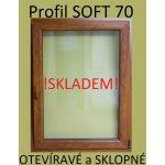 SOFT plastové okno 90x90 zlatý dub/zlatý dub, otváravé a sklopné