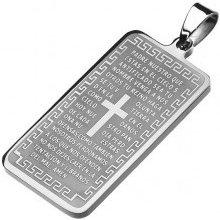 Šperky eshop Obdĺžniková známka z chirurgickej ocele, strieborný odtieň, Otčenáš, krížik Z5.15